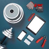 elementos de fitness de maquete. musculação. foto