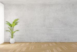 simulação de parede de concreto e piso de madeira foto
