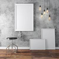 Interior 3D com molduras em branco e piso de madeira