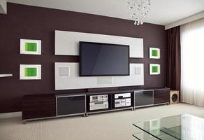 vista interna de uma sala de home theater com uma TV de tela plana