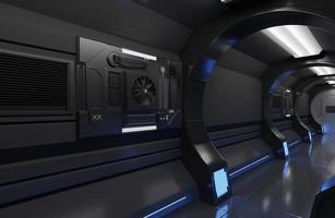 interior de nave espacial futurista foto