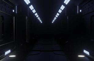 interior de nave espacial escura foto