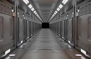 nave espacial interior metálico com vista