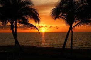pôr do sol em uma praia tropical