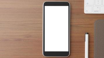 vista superior de uma maquete de telefone celular foto
