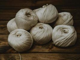 bolas de lã branca foto