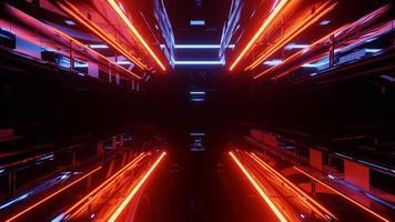 ilustração 3D de luzes de néon refletidas