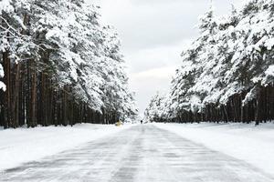 estrada de inverno com neve foto