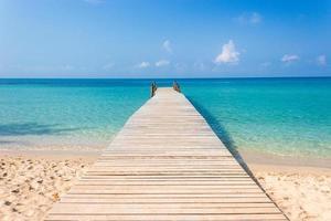 ponte de madeira em uma praia tropical foto