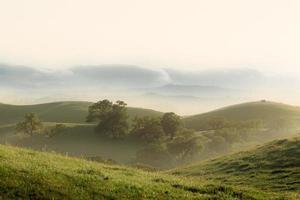 paisagem enevoada ao nascer do sol