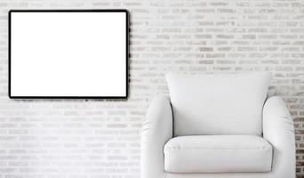 maquete de porta-retrato em uma sala de estar