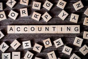 blocos de letras soletrando contabilidade