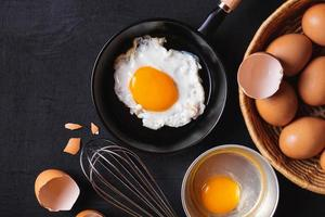 frigideira com ovos foto