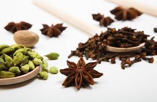 variedade de especiarias em colheres de madeira foto