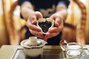 folhas de chá chinesas foto