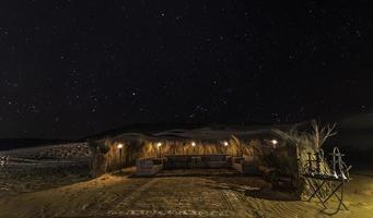 noite de barraca no deserto com estrelas