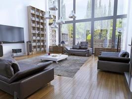 sala de estar de teto alto com janelas panorâmicas foto