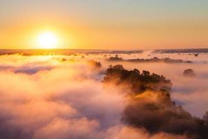 madrugada nublada sobre o vale e a floresta foto