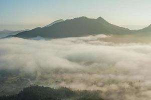 lindo nascer do sol e nevoeiro em phu thok chiang khan