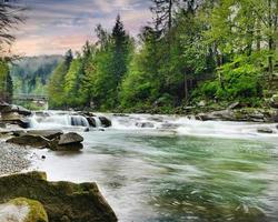 rio de montanha áspero com espuma branca flui entre as rochas foto