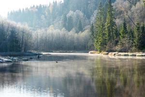 rio colorido de outono cênico