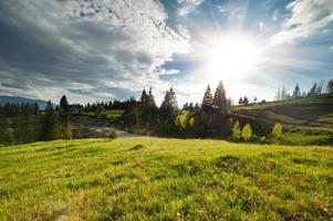 bela vista sobre montanhas e prados cobertos de floresta