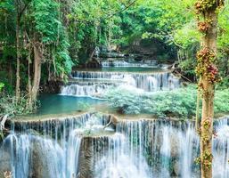 Cachoeira da floresta profunda em Huay Mae Kamin, Kanchanaburi, Tailândia
