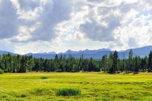 paisagem montana perto do parque nacional glaciar no verão foto