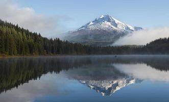 manhã nublada no lago foto