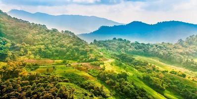 paisagem de montanha com estrada e plantação, chiang rai, thail foto