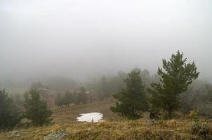 encosta em espesso nevoeiro. Cáucaso.
