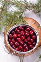 cranberries orgânicas no recipiente da floresta do norte em madeira natural foto