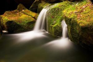 córrego da montanha. água fria cristalina cai sobre rochas musgosas de basalto foto