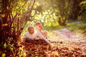 menino irmão filhos sob um arbusto dourado outono foto