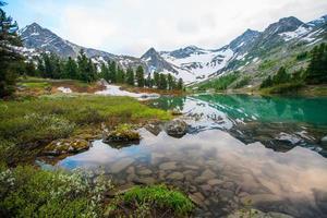 belo lago de montanha com reflexo das montanhas mais próximas