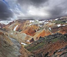 montanhas multicoloridas com neve