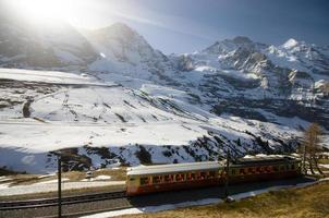 trem suíço com fundo nos Alpes