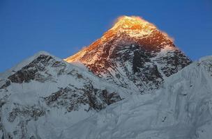 pico do Everest, pôr do sol céu azul