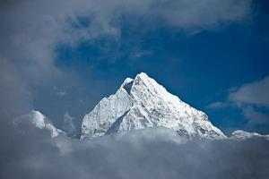 panorama do himalaia - monte thamserku