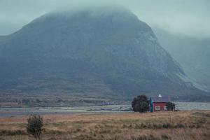 Lofoten litoral da Noruega com grama, montanha, casa vermelha