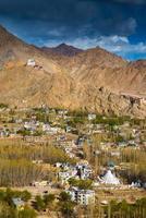 vista da cidade de leh, capital de ladakh, na índia.
