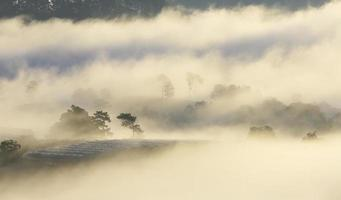 montanha, névoa e luz do sol ao amanhecer foto