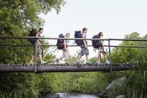 adolescentes com mochilas caminhando na ponte