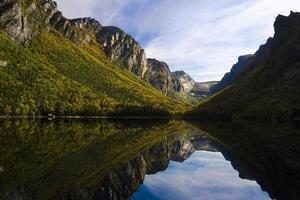 montanha com reflexo de lago