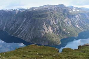 lago é cercado pelas montanhas. foto