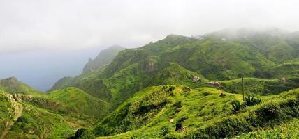 casas, fazendas e gado no topo da montanha foto
