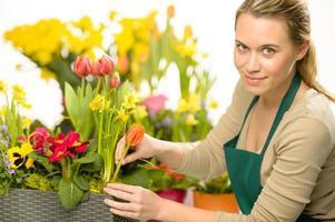 florista arranja flores da primavera plantas coloridas foto