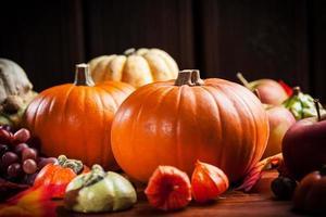 abóboras de ação de graças e halloween foto
