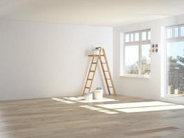 pintura de paredes na sala com escada durante a reforma. Renderização 3d