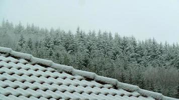 telhado da casa coberto de neve foto